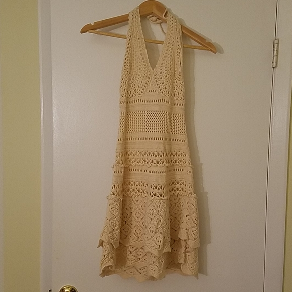 Moda International Dresses & Skirts - Cotton Beige Macrame Mini Dress Open Back Sz S